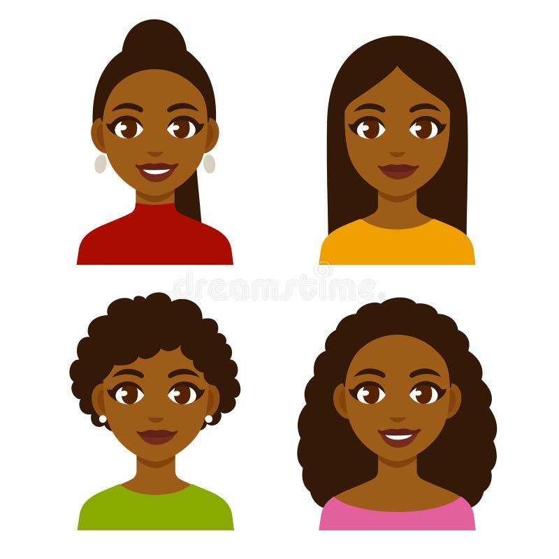 Установленные чернокожие женщины иллюстрация штока