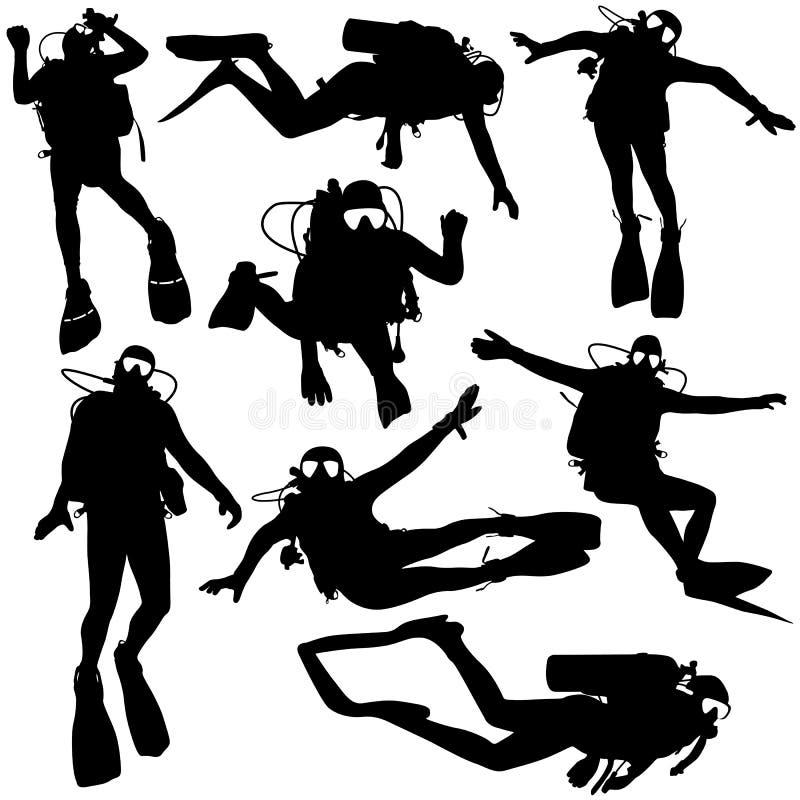 Установленные черные водолазы акваланга силуэта также вектор иллюстрации притяжки corel бесплатная иллюстрация