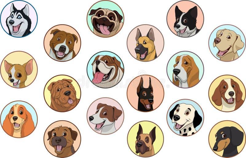 Установленные чистоплеменные собаки иллюстрация вектора