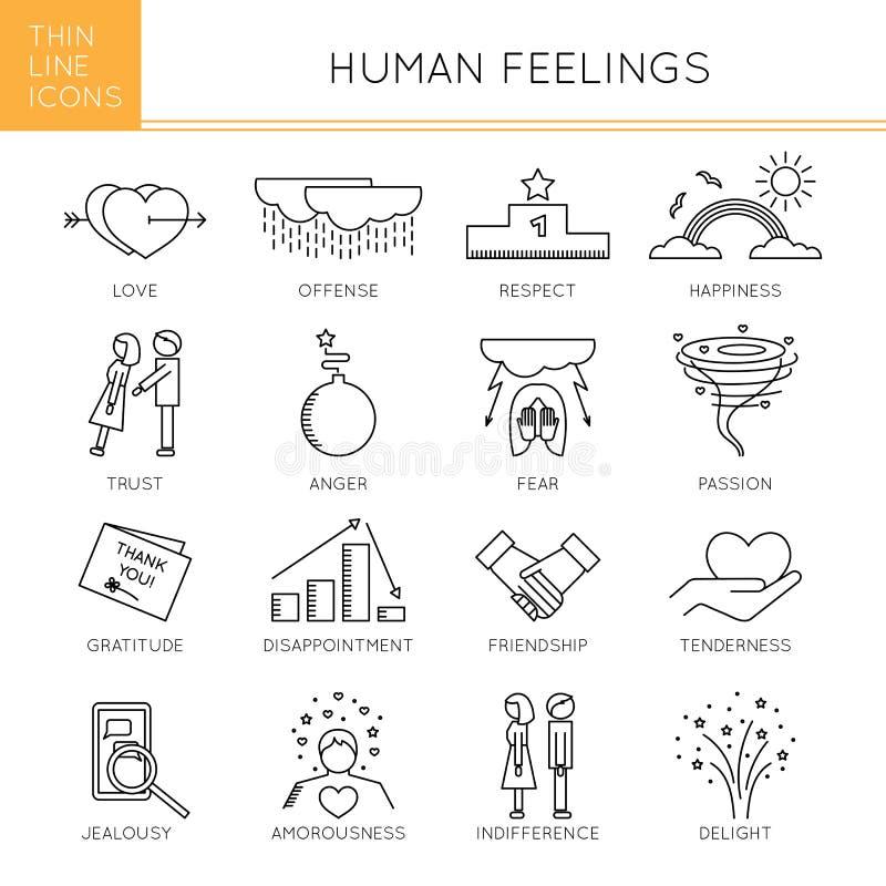 Установленные чувства и эмоции бесплатная иллюстрация