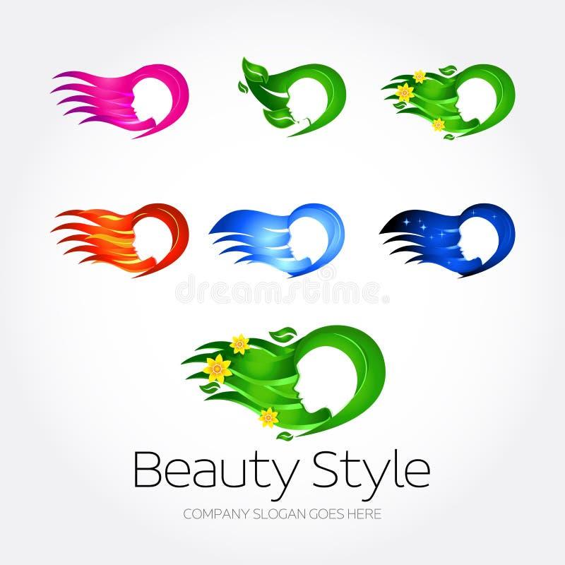 Установленные шаблоны дизайна логотипа курорта моды красоты Листья розовых, зеленого цвета и цветки, огонь, открытое море, версии бесплатная иллюстрация