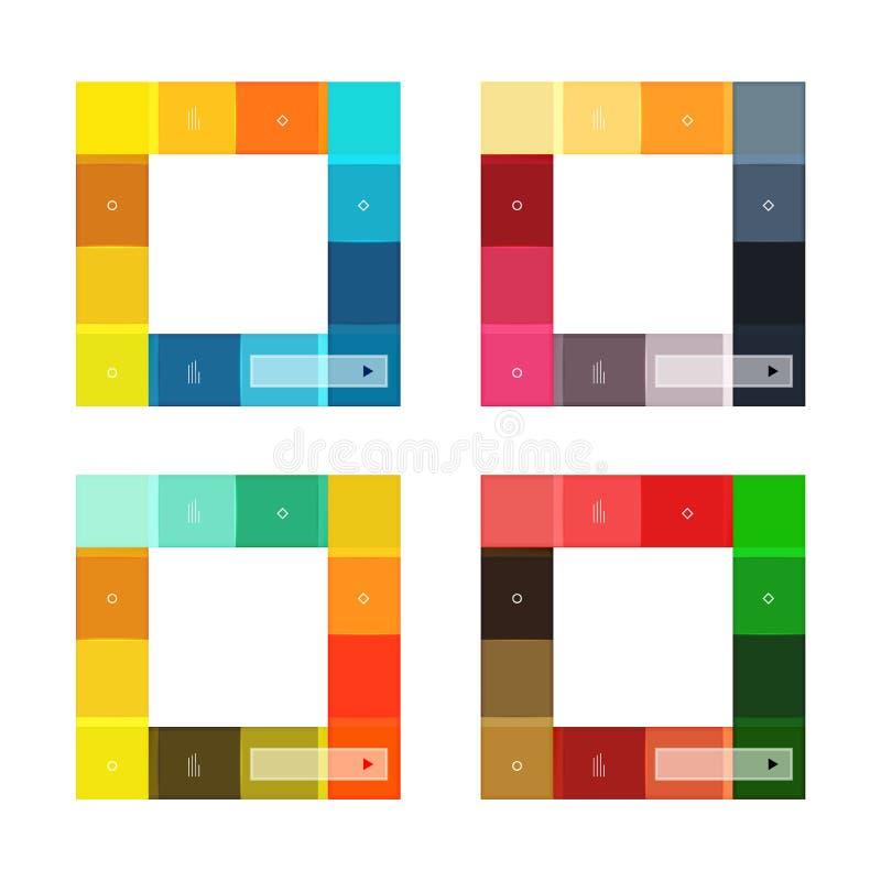 Установленные шаблоны красочных нашивок infographic иллюстрация штока