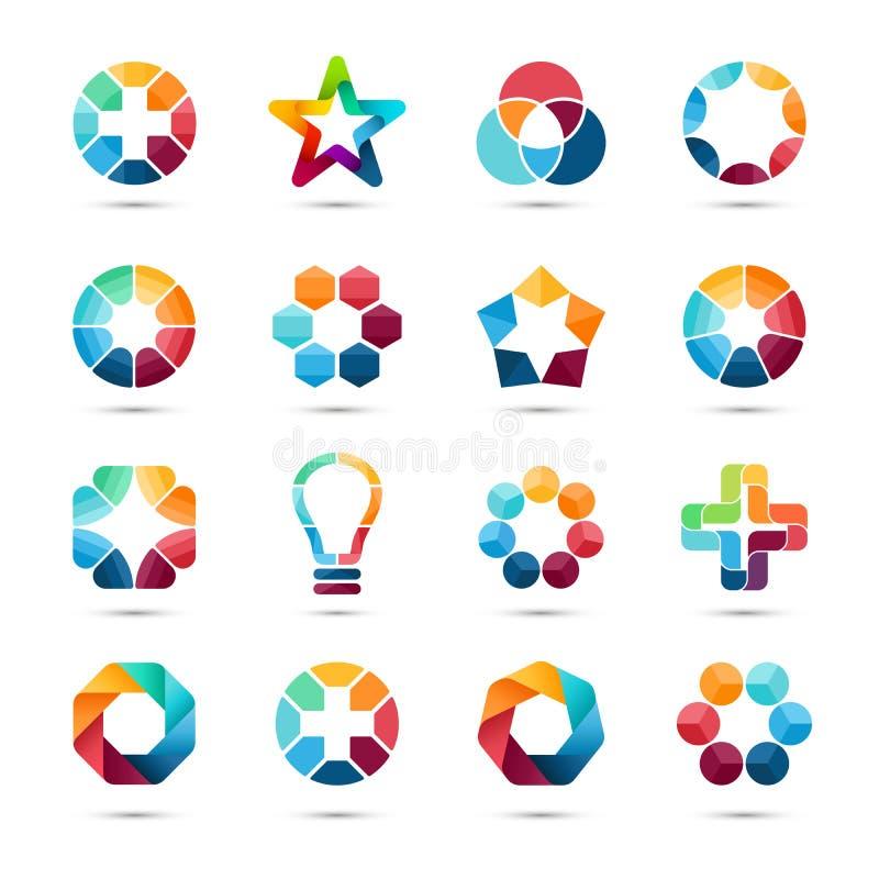 Установленные шаблоны логоса Знаки абстрактного круга творческие иллюстрация вектора