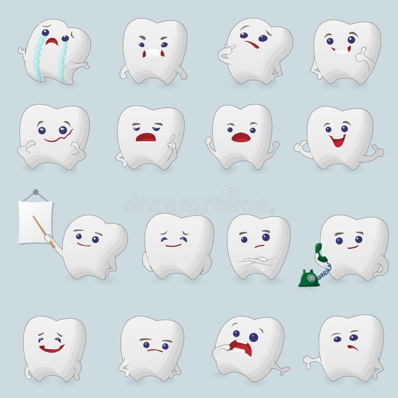 Установленные шаржи зубов иллюстрация штока