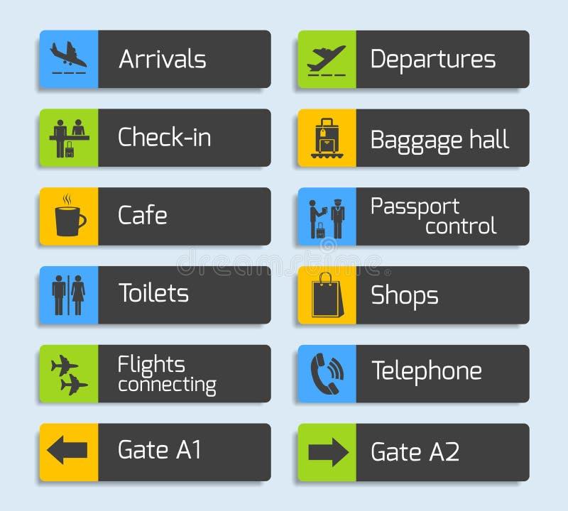 Установленные шильдики дизайна навигации авиапорта бесплатная иллюстрация