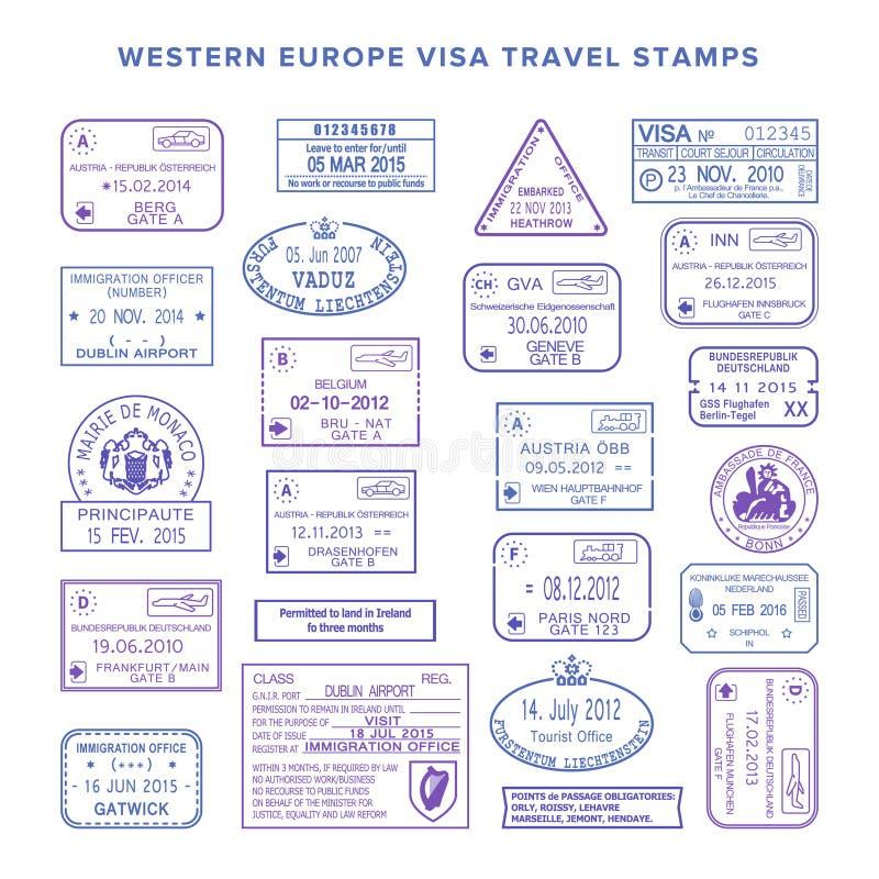 Установленные штемпеля визы перемещения Западной Европы вектора общие иллюстрация вектора
