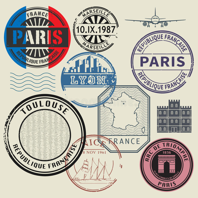 Установленные штемпеля, тема перемещения Франции иллюстрация вектора