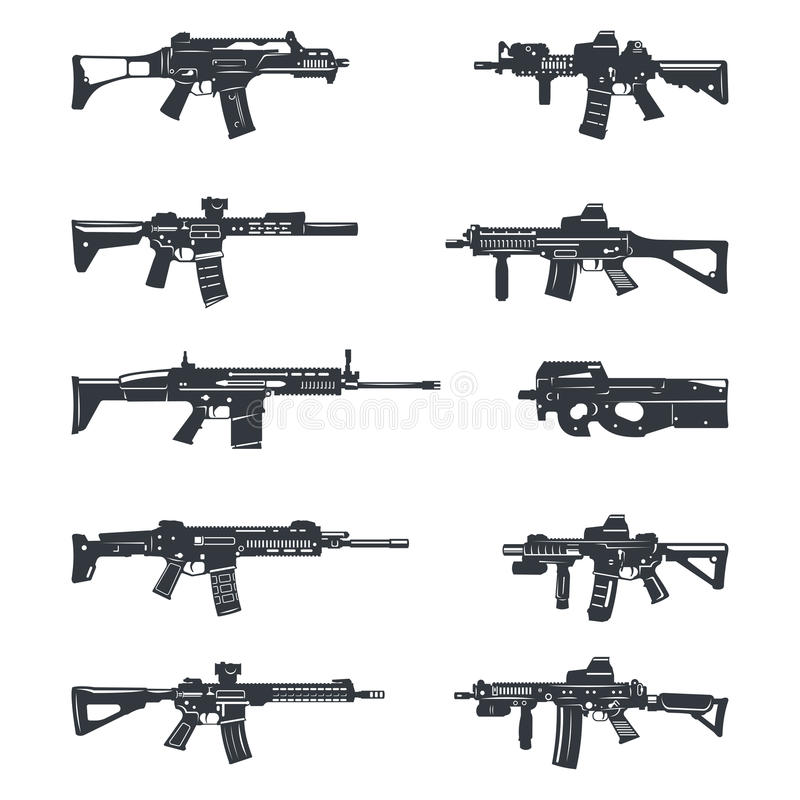 Установленные штурмовые винтовки иллюстрация штока