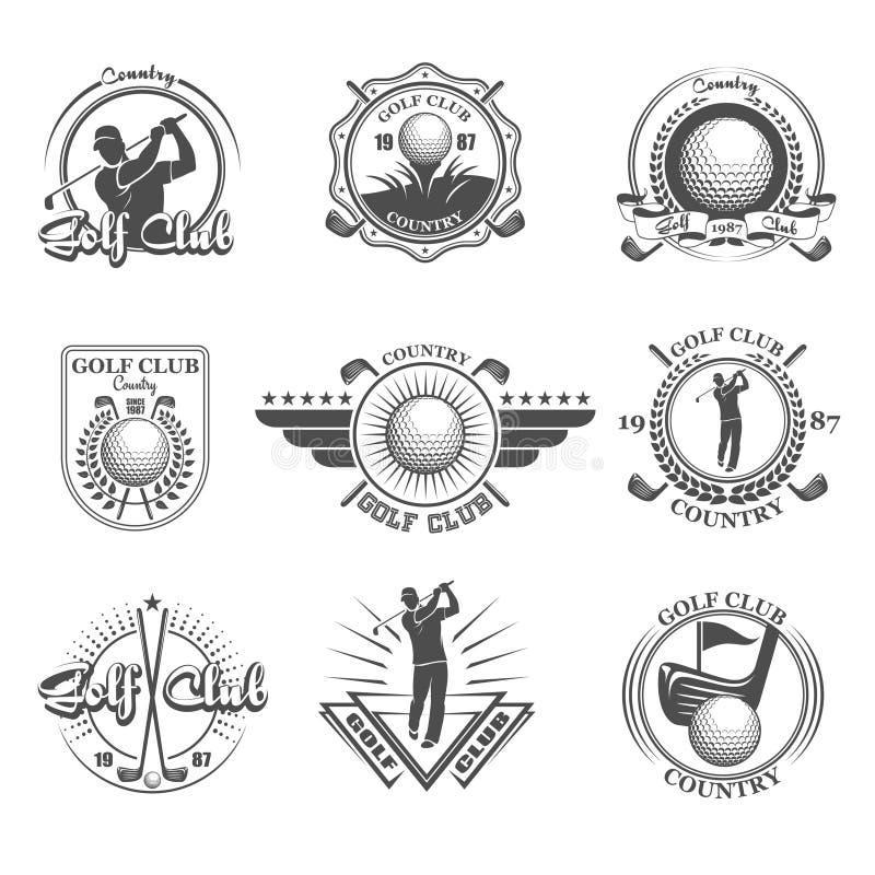 Установленные эмблемы гольфа иллюстрация вектора