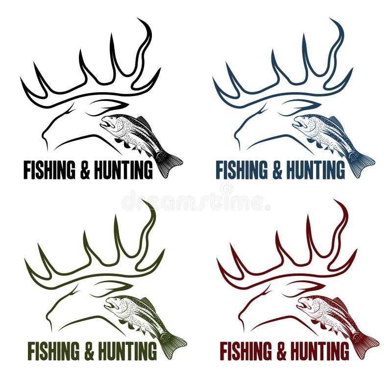 Установленные эмблемы звероловства и рыбной ловли винтажные иллюстрация вектора