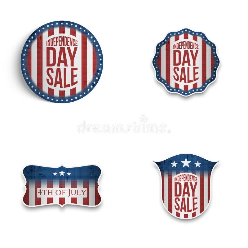 Установленные эмблемы и экраны Дня независимости патриотические бесплатная иллюстрация