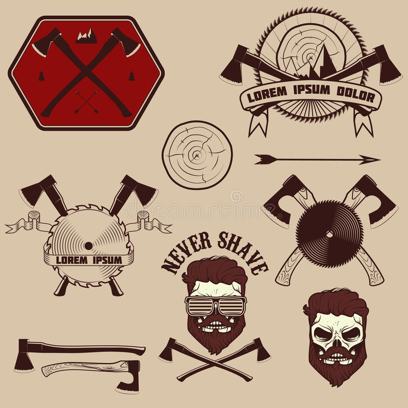Установленные эмблемы Lumberjack бесплатная иллюстрация
