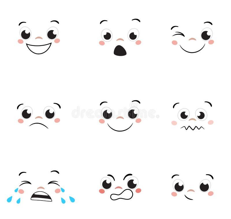 Установленные эмоции стороны шаржа комплект выражений воплощения иллюстрация вектора