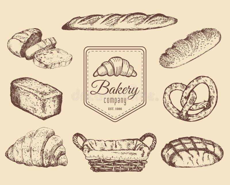 Установленные эскизы товаров и помадок хлебопекарни Vector нарисованные рукой иллюстрации хлеба для кафа, меню ресторана, логотип бесплатная иллюстрация