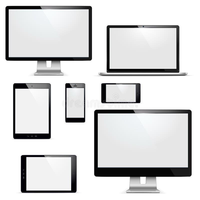 Установленные электронные устройства вектора иллюстрация штока