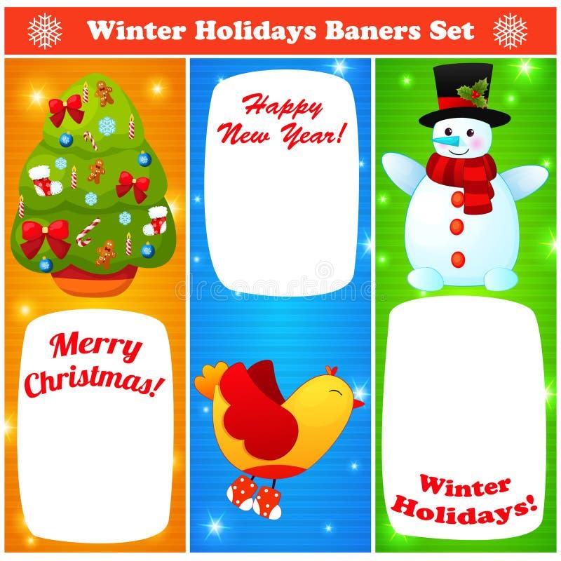 Установленные baners рождества и Нового Года приветствию бесплатная иллюстрация