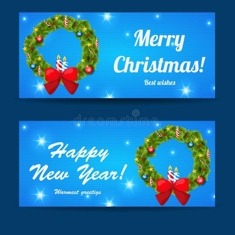 Установленные baners рождества и Нового Года приветствию иллюстрация штока