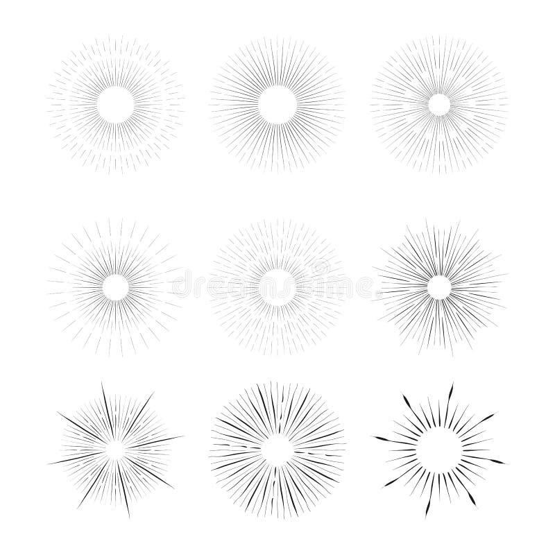 Установленные burstings лучей года сбора винограда вектора - конструируйте элементы бесплатная иллюстрация