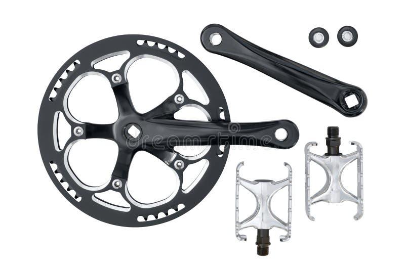 Установленные chainring и педали crankset велосипеда стоковая фотография