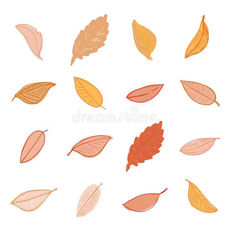 установленные doodles листьев Иллюстрация вектора нарисованная рукой иллюстрация штока