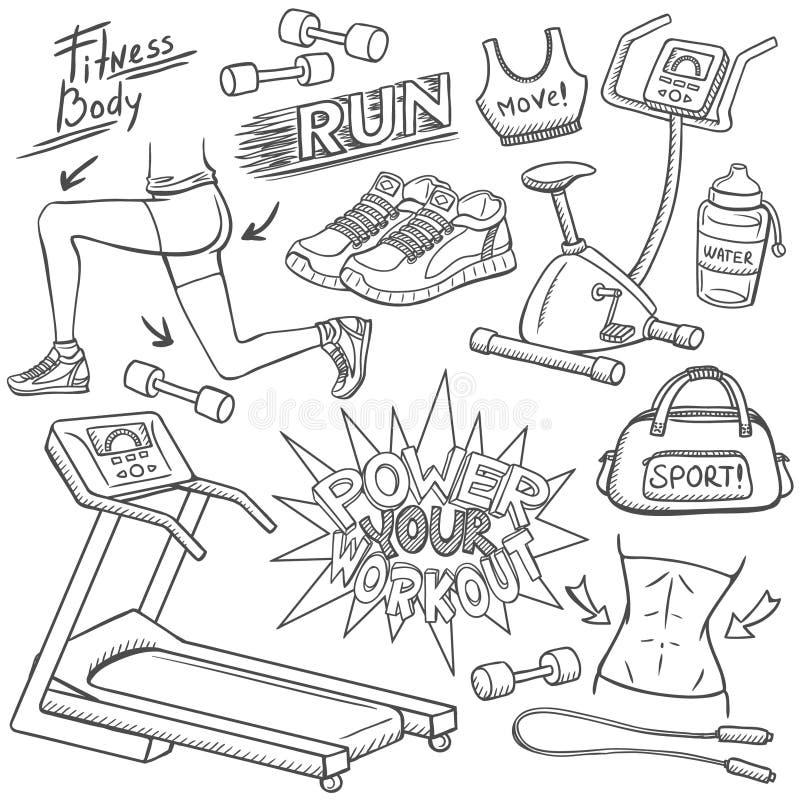 Установленные doodles спортзала иллюстрация штока