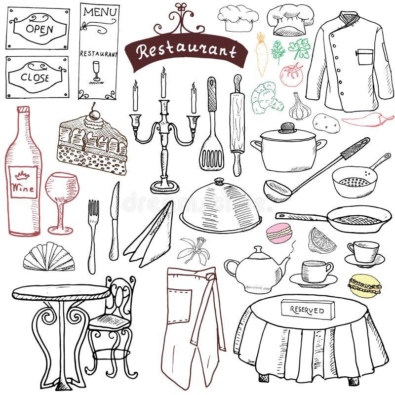 Установленные doodles эскиза ресторана Вручите вычерченные еду элементов и питье, нож, вилку, меню, форму шеф-повара, бутылку вин иллюстрация штока