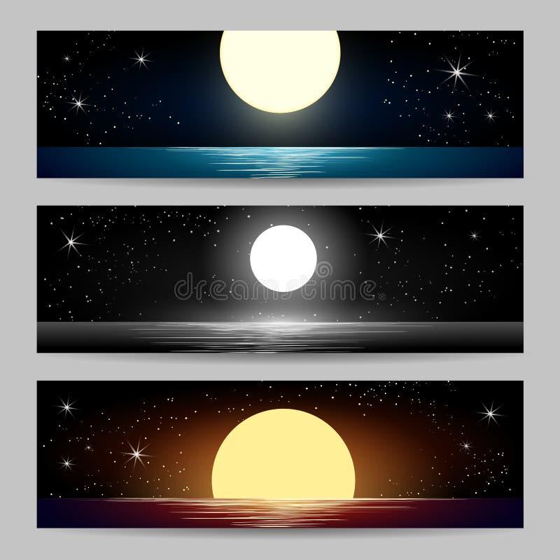 Установленные Seascapes ночи бесплатная иллюстрация