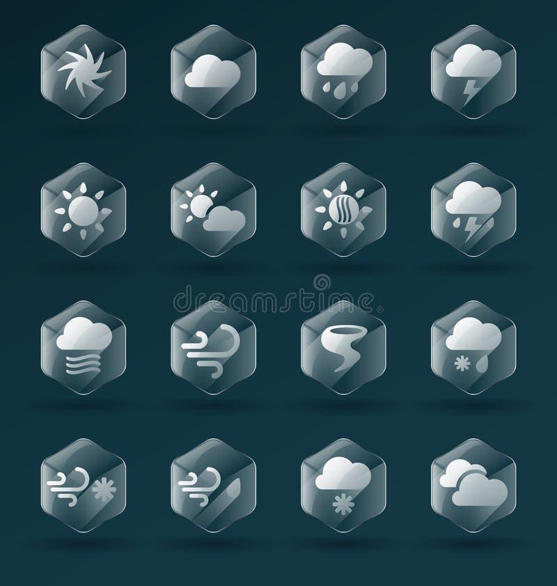 Установленный вектор: Стеклянные значки и символы погоды бесплатная иллюстрация