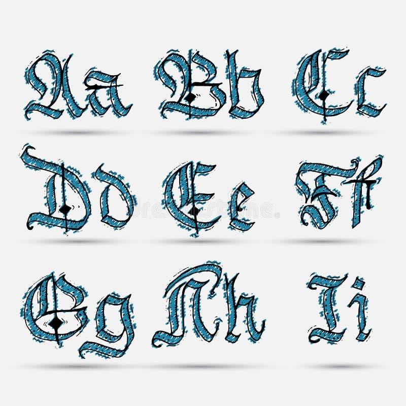Установленный готический abc иллюстрация вектора