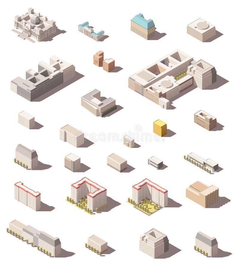 Установленный значок вектора равновеликий minimalistic низкий поли или дома и офисы города элементов карты infographic здания, бесплатная иллюстрация