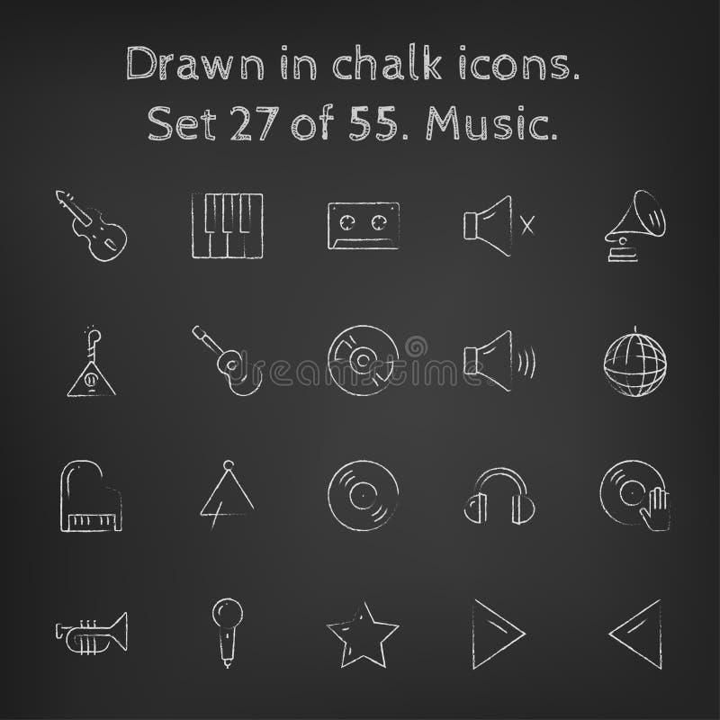 Установленный значок музыки нарисованным в меле иллюстрация вектора