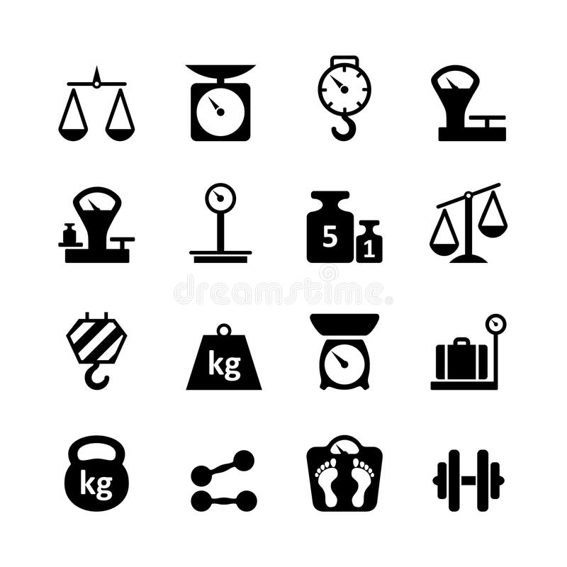 Установленный значок сеты - вес иллюстрация вектора