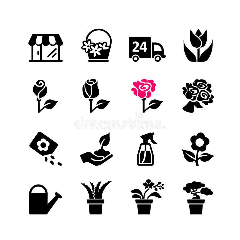 Установленный значок сеты - цветочный магазин иллюстрация штока