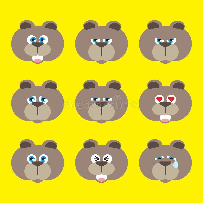 Установленный значок эмоции - медведь иллюстрация штока