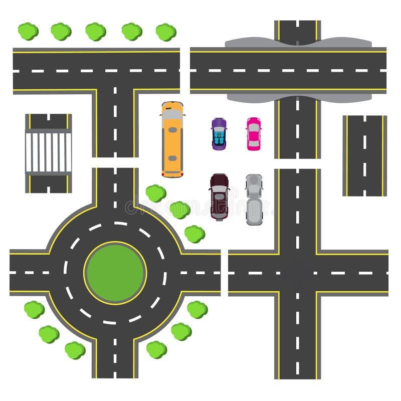 Установленный дизайн для узла перехода Пересечения различных дорог Циркуляция карусели Транспорт иллюстрация иллюстрация штока