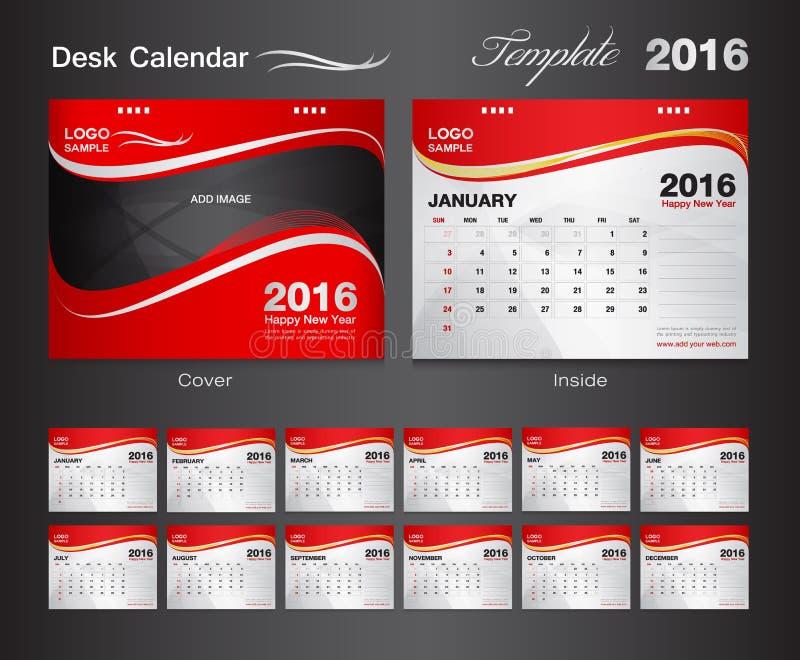 Установленный красный шаблон дизайна вектора календаря 2016 бесплатная иллюстрация