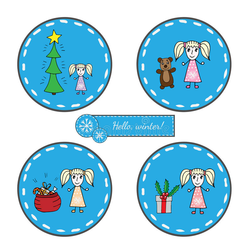 Установленный круглый стикер с девушкой с рождественской елкой, большим подарком и sa иллюстрация вектора