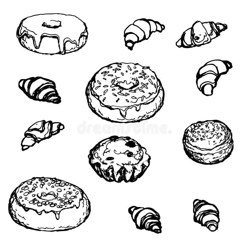 Установленный нарисованный вручную торт круассана донута хлебопекарни стоковые изображения rf