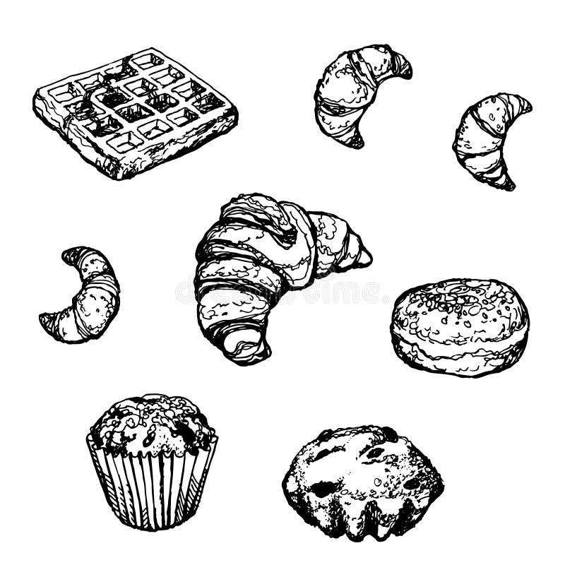 Установленный нарисованный вручную торт круассана донута хлебопекарни стоковая фотография