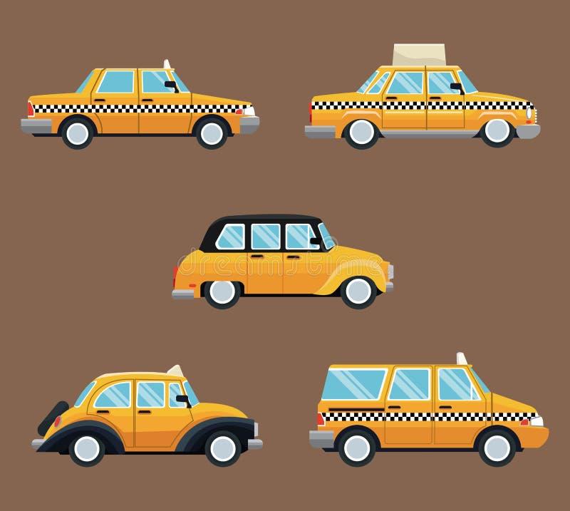 Установленный различный взгляд со стороны автомобиля такси иллюстрация вектора