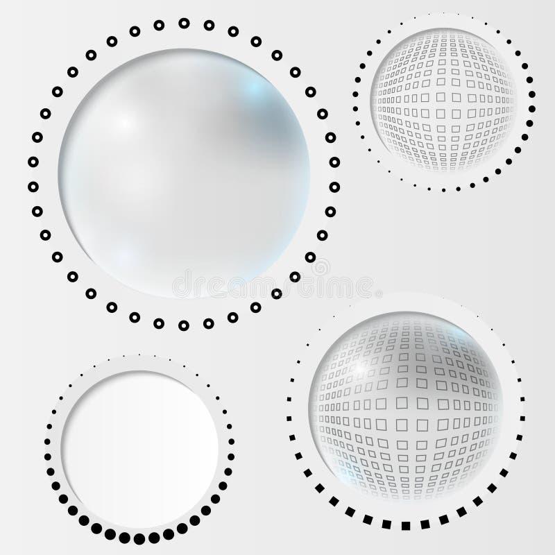Установленный серый абстрактный круг бесплатная иллюстрация