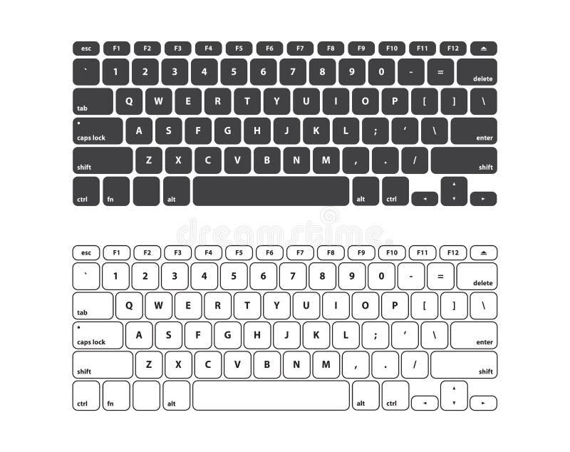 Установленный черно-белый ход клавиатуры СТАНДАРТНО РАСПОЛОЖЕННЫЙ - изолированная иллюстрация вектора бесплатная иллюстрация