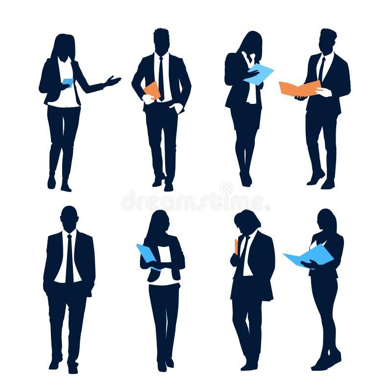 Установленных бизнесмены папок документа владением группы предпринимателей силуэта толпы команды бесплатная иллюстрация