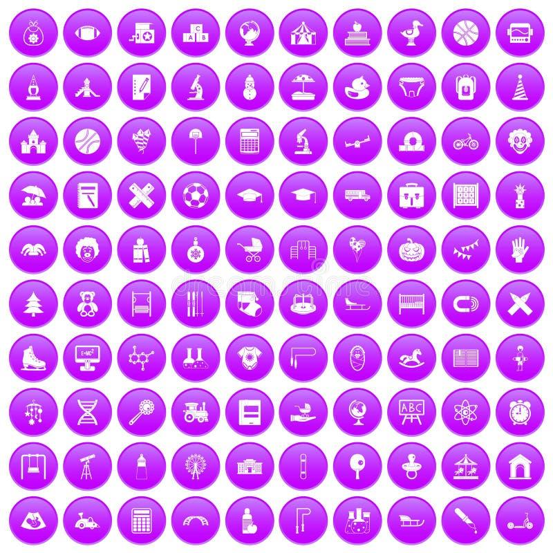100 установленных значков детей фиолетовыми иллюстрация вектора
