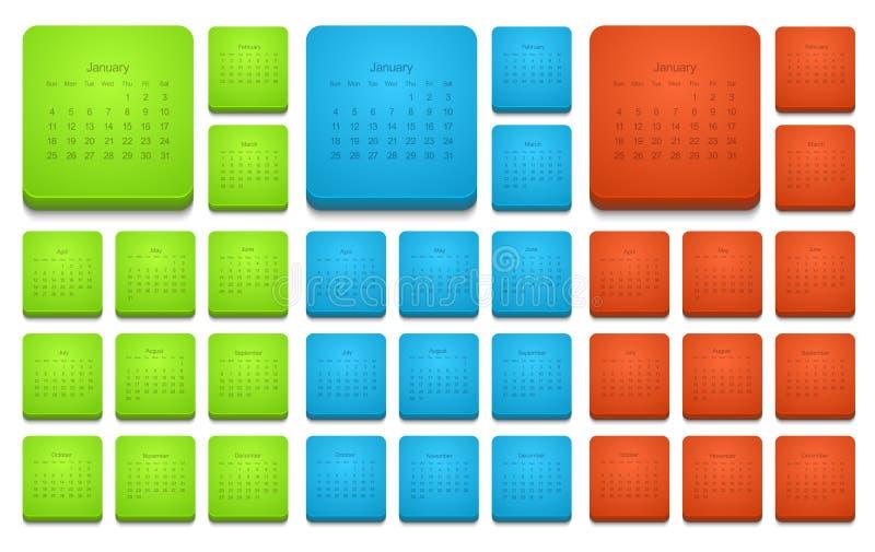 Установленных значков календаря вектора современные 2015 бесплатная иллюстрация