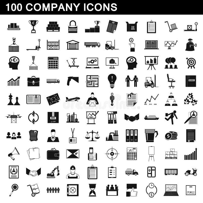 100 установленных значков, простой стиль компании иллюстрация вектора