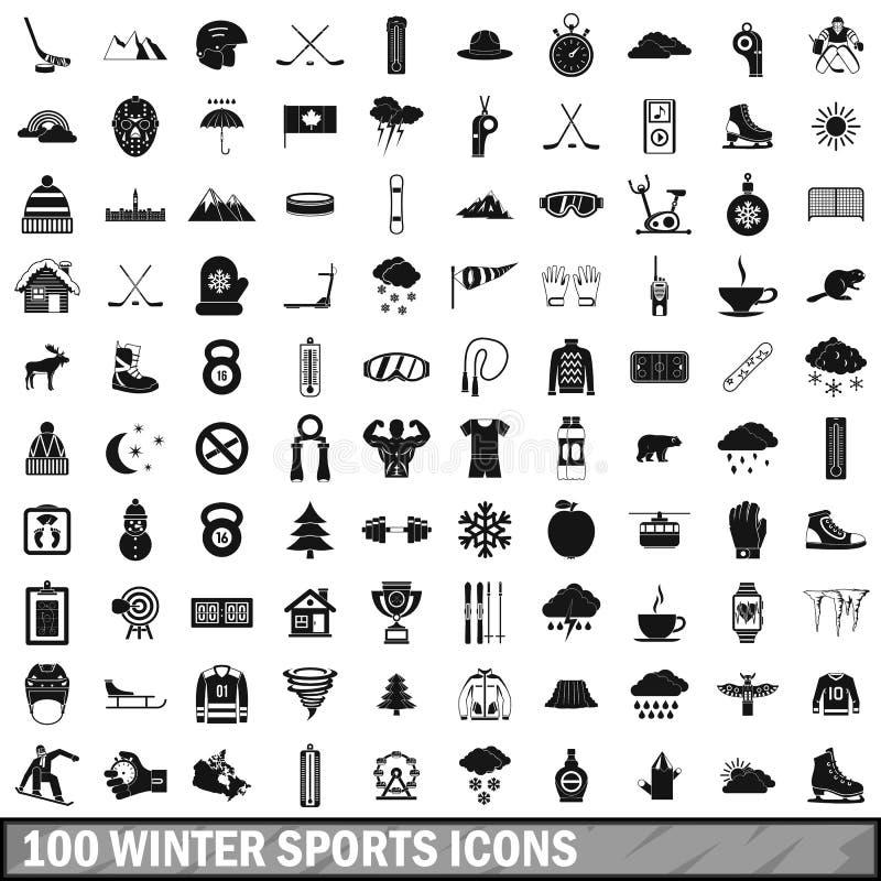 100 установленных значков, простой стиль спорта зимы иллюстрация вектора