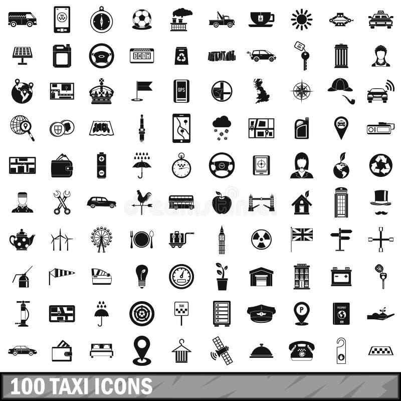 100 установленных значков, простой стиль такси бесплатная иллюстрация