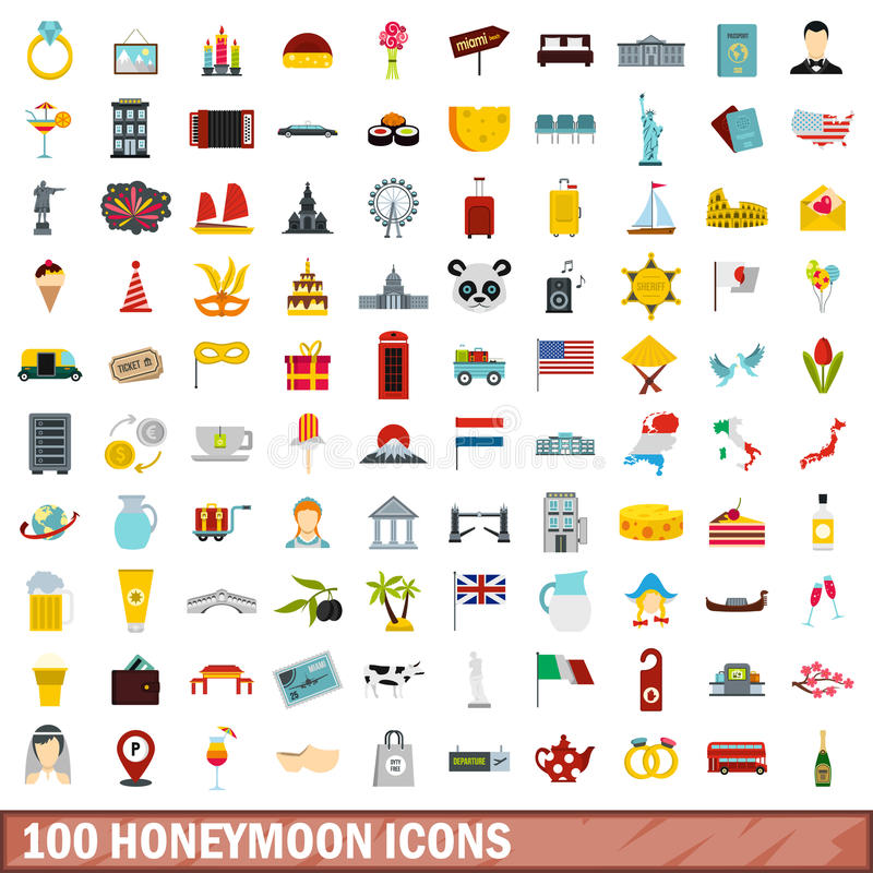 100 установленных значков, плоский стиль медового месяца иллюстрация штока
