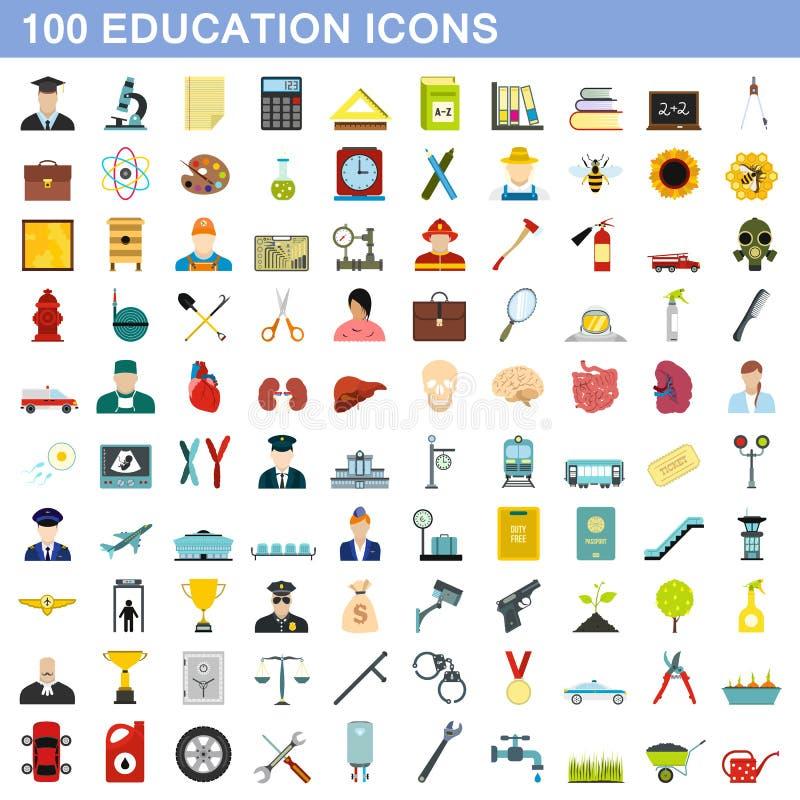 100 установленных значков, плоский стиль образования бесплатная иллюстрация